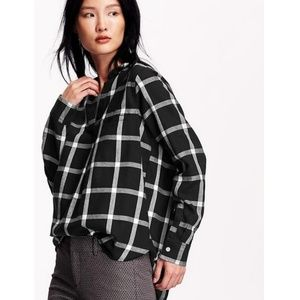 Classic Black & White Plaid Flannel Popover Shirt